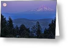 The Moon Beside Mt. Hood Greeting Card