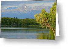 The Mountain Guards The River Greeting Card