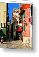 The Narrow Streets Of Rovinj Croatia Greeting Card