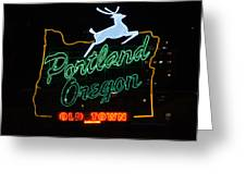 The New Portland Oregon Sign At Night Greeting Card by DerekTXFactor Creative