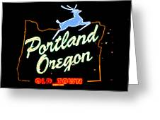 The New Portland Oregon Sign At Night With White Lights Greeting Card by DerekTXFactor Creative
