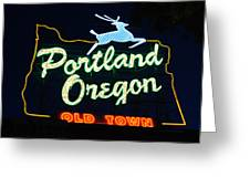 The New Portland Oregon Sign Greeting Card by DerekTXFactor Creative