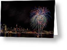 The New York City Skyline Sparkles Greeting Card by Susan Candelario
