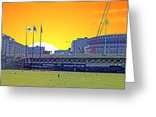 The Old And New Yankee Stadiums Side By Side At Sunset Greeting Card