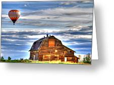 The Old Barn And Balloon Greeting Card by Scott Mahon