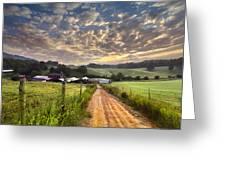 The Old Farm Lane Greeting Card by Debra and Dave Vanderlaan