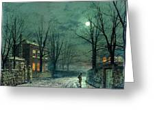 The Old Hall Under Moonlight Greeting Card