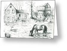 The Old Horse Farm Greeting Card