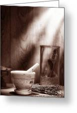 The Old Lavender Artisan Shop In Sepia Greeting Card by Olivier Le Queinec