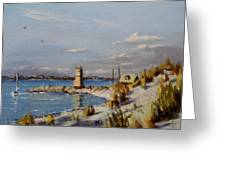 The Old Lighthouse At Rockaway Point Greeting Card