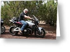 The Old Man On The Motorcycle Greeting Card