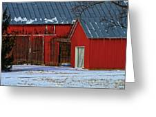 The Old Red Barn In Winter Greeting Card