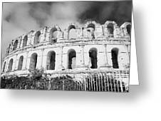 The Old Roman Colloseum Against Blue Cloudy Sky El Jem Tunisia Greeting Card
