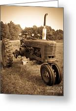 The Old Tractor Sepia Greeting Card