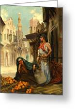 The Orange Seller Greeting Card by Fabbio Fabbi