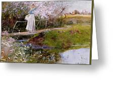 The Orchard Brook  Greeting Card