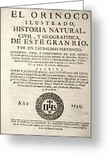 'the Orinoco Illustrated' (1741) Greeting Card
