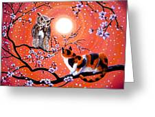 The Owl And The Pussycat In Peach Blossoms Greeting Card