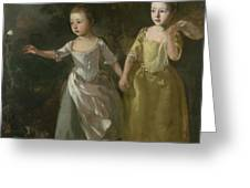 The Painter's Daughters Chasing A Butterfly Greeting Card