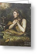The Penitent Magdalene By Domenico Tintoretto Greeting Card