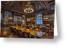 The Periodical Room At The New York Public Library Greeting Card by Susan Candelario