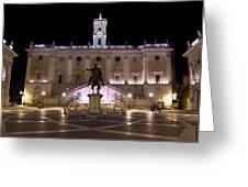 The Piazza Del Campidoglio At Night Greeting Card