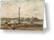 The Pilot's Jetty Le Harve Mornig Grey Weather Misty Greeting Card by Camille Pissarro