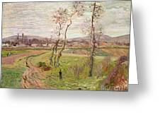 The Plain At Gennevilliers Greeting Card by Claude Monet