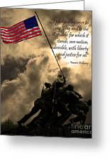 The Pledge Of Allegiance - Iwo Jima 20130211v2 Greeting Card by Wingsdomain Art and Photography