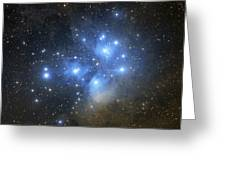 The Pleiades Open Star Cluster Greeting Card