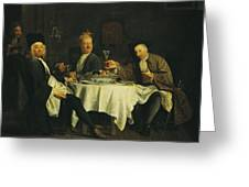 The Poet Alexis Piron 1689-1773 At The Table With His Friends, Jean Joseph Vade 1720-57 And Charles Greeting Card