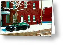 The Point Pointe St Charles Snowy Walk Past Red Brick House Winter City Scene Carole Spandau Greeting Card