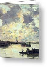 The Port Greeting Card by Eugene Louis Boudin