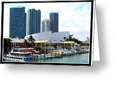 The Port Of Miami At Bayside Greeting Card