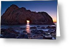 The Portal - Sunset On Arch Rock In Pfeiffer Beach Big Sur In California. Greeting Card by Jamie Pham