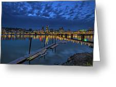The Portland Oregon Waterfront Blue Hour Greeting Card