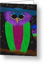 The Prismatic Crested Owl Greeting Card