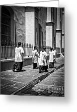 The Procession - Black And White Greeting Card