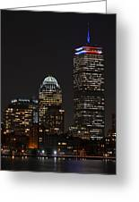 The Prudential Lit Up In Red White And Blue Greeting Card
