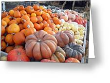 The Pumpkin Stand Greeting Card by Richard Reeve