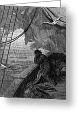 The Rain Begins To Fall Greeting Card by Gustave Dore