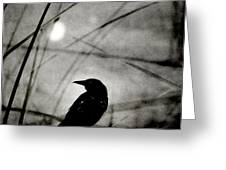 The Raven And The Orb Greeting Card by Sharon Coty