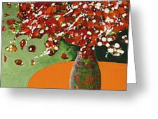 The Red And Green Vase Greeting Card