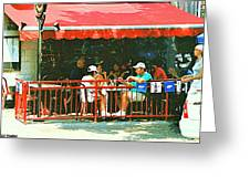 The Red Awning Cafe On St. Denis - A Shady Spot To Enjoy A Cold Beer On A Very Hot Sunday In July Greeting Card
