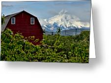 The Red Barn And Mt. Hood Greeting Card