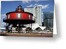 The Red Beacon From Baltimore Harbor Greeting Card