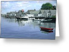 The Red Boat  Nantucket Harbor Greeting Card