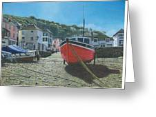 The Red Boat Polperro Corwall Greeting Card