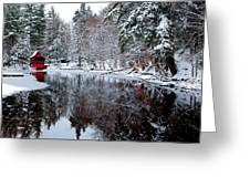 Red Boathouse On Beaver Brook Greeting Card