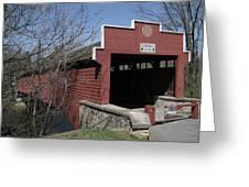 The Red Bridge Or Wertz's Cover Bridge Greeting Card